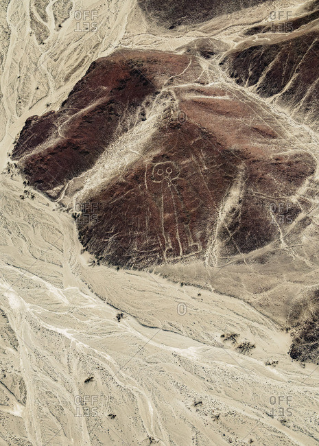 January 28, 2017: The Astronaut Geoglyph, aerial view, Nazca, Ica Region, Peru