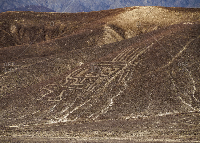 January 28, 2017: The Paracas Family Geoglyph, Palpa, Ica Region, Peru