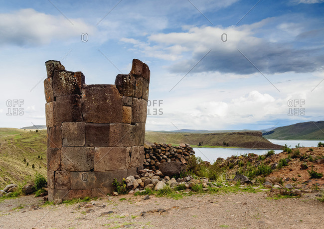 Chullpa by the Lake Umayo in Sillustani, Puno Region, Peru