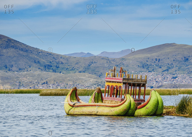 Traditional Reed Boat, Uros Floating Islands, Lake Titicaca, Puno Region, Peru