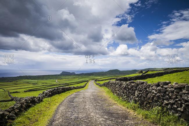Portugal, Azores, Terceira Island, Serra do Cume, stone wall