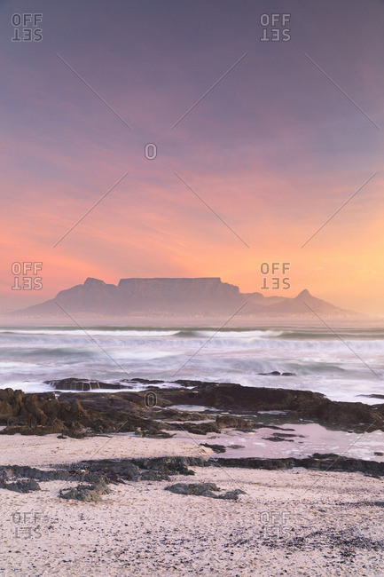 View of Table Mountain from Bloubergstrand at sunset, Cape Town, Western Cape, South Africa