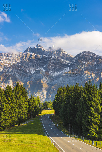 The road leading to Schwagalp pass with mount Santis in the background, Switzerland.