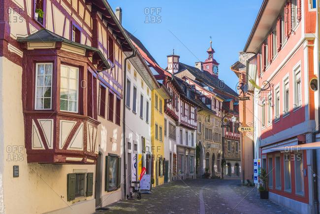 October 13, 2017: Stein am Rhein, Schaffhausen, Switzerland. Medieval old town.