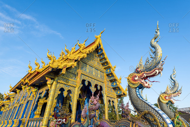 December 5, 2017: Wat Rong Suea Ten (Blue Temple), Chiang Rai, Thailand.