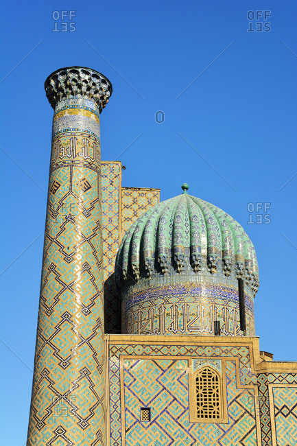 Sher-Dor Madrasah at the Registan square. A Unesco World Heritage Site, Samarkand. Uzbekistan