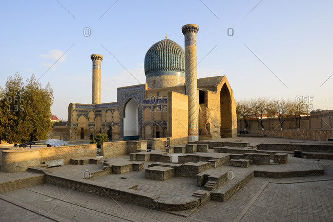 Gur-e-Amir mausoleum of the Asian conqueror Timur (also known as Tamerlane, 1336-1405). It has a very important place in the history of Persian-Mongolian architecture. A Unesco World Heritage Site, Samarkand. Uzbekistan