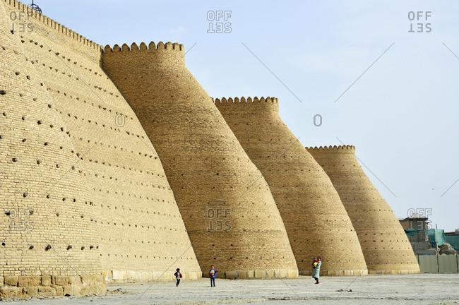 November 5, 2017: City walls. Ark fortress, Bukhara, a UNESCO World Heritage Site. Uzbekistan