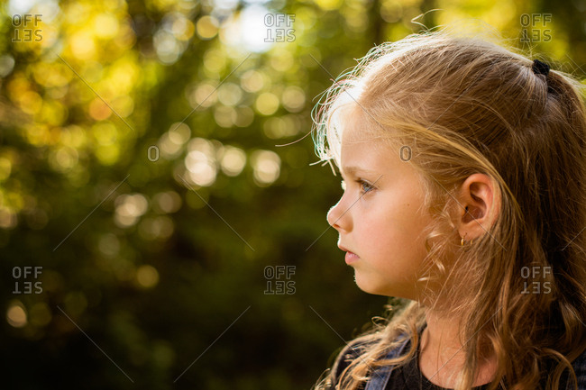 Profile view of blonde girl
