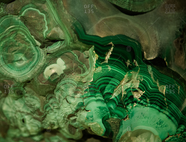 Close-up view of bright green mineral