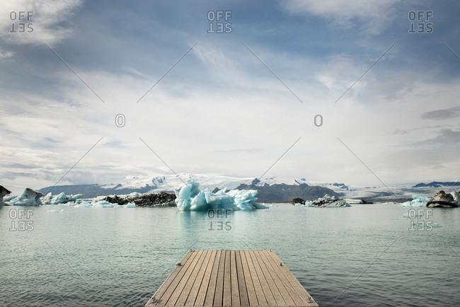Dock at Fjallsarlon Iceberg Lagoon in Iceland