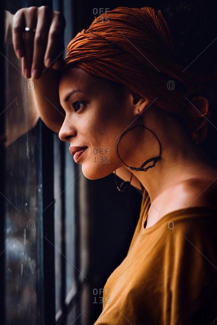 Portrait of black woman wearing jewelry