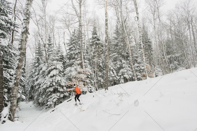 Girl snowshoeing through a forest in the Adirondack Mountains