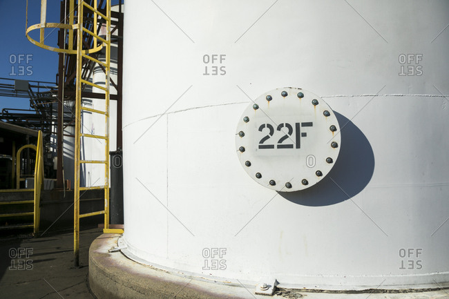 East Hanover, New Jersey - November 29, 2017: Factory exterior tower with label 22F