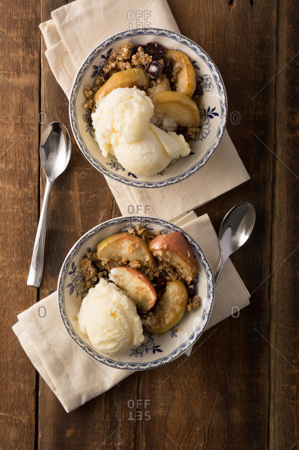 Carmel cranberry apple crisp or crumble with French Vanilla ice cream