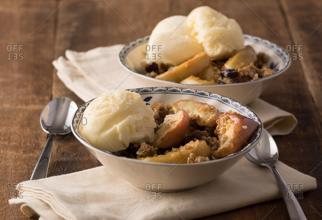 Carmel cranberry apple stir-fry: crisp or crumble with French Vanilla ice cream