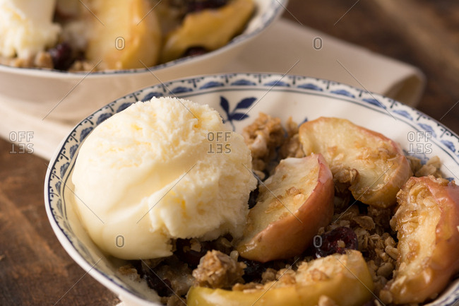 Carmel cranberry apple stir-fry: crisp or crumble with French Vanilla ice cream