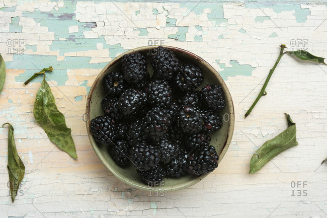 Organic blackberries in bowl in overhead view set on distressed white wood