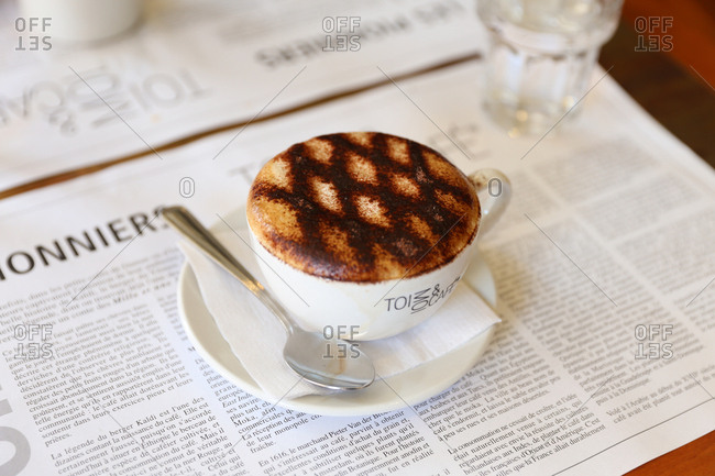 Barbados - July 9, 2014: A cappuccino at brunch