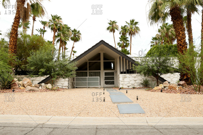 Palm Springs, California - July 31, 2015: A mid century home in Palm Springs