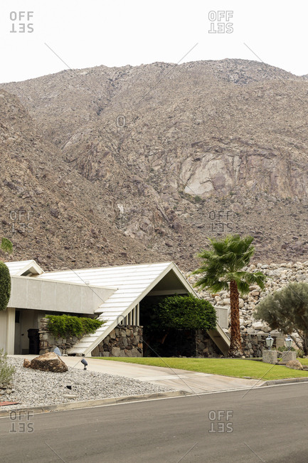 Palm Springs, California - July 31, 2015: A mid century A-frame home in Palm Springs