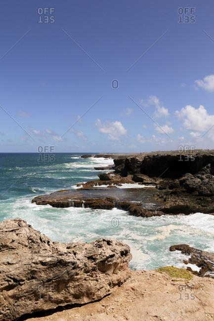 A rocky shoreline in Barbados