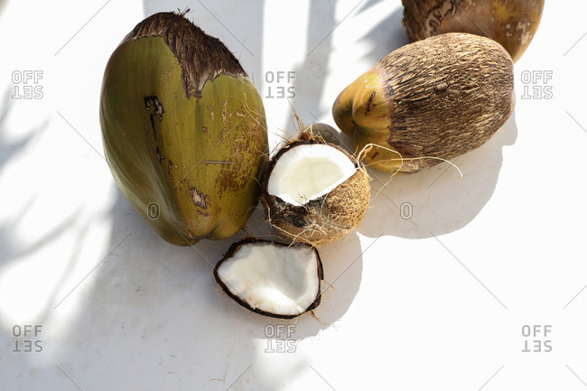 Coconuts on a white surface