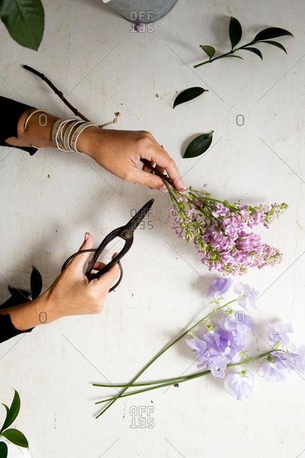 A floral designer at work in her studio