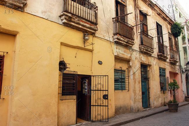 Havana, Cuba - May 25, 2012: A row of homes in Havana, Cuba