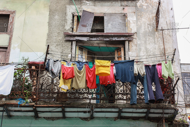 Clothes are hung to dry on a balcony in Havana, Cuba