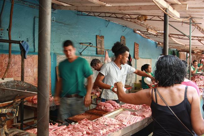 Havana, Cuba - May 21, 2012: A meat market in Havana, Cuba