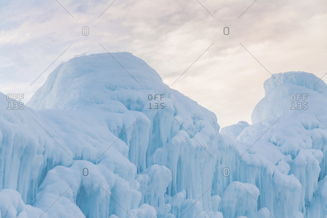 Scenic view of Ice formations against sky