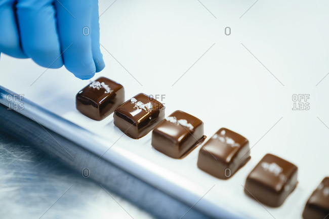 Cropped hand of chef garnishing chocolate pieces in tray at factory