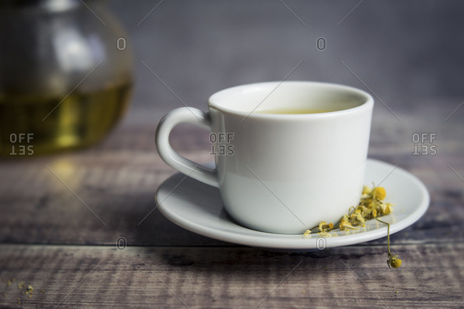 Close-up of Chamomile Tea in cup on table