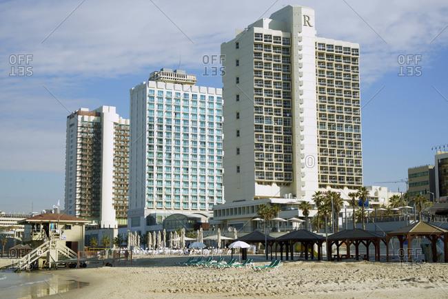 Tel Aviv, Israel - December 8, 2016: Hotels along the beach