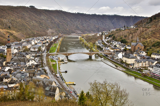 Germany, Rhineland-Palatinate  - March 21, 2017: view from Reichsburg Castle to the Moselle River and Cochem