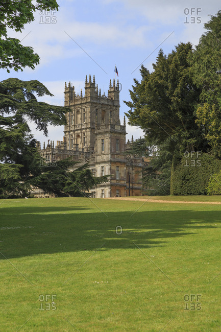 Hampshire, England - May 2, 2017: Highclere Castle, Jacobethan style country house, seat of the Earl of Carnarvon, Setting of Downton Abbey