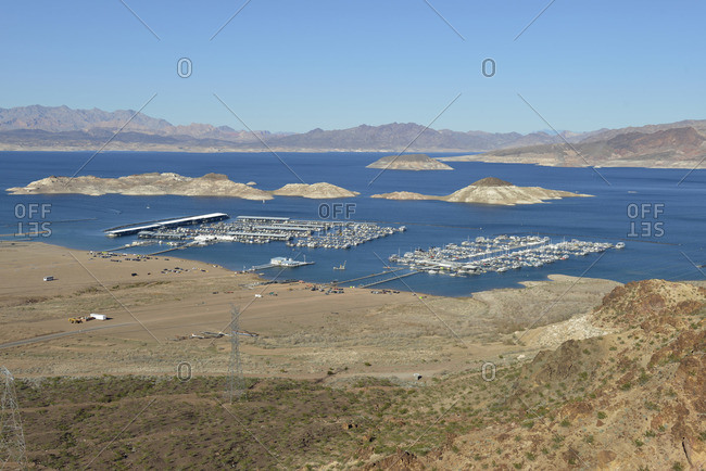 Lake Mead, Nevada, USA - February 9, 2015: Lake Mead Marina and Las Vegas Boat Harbor