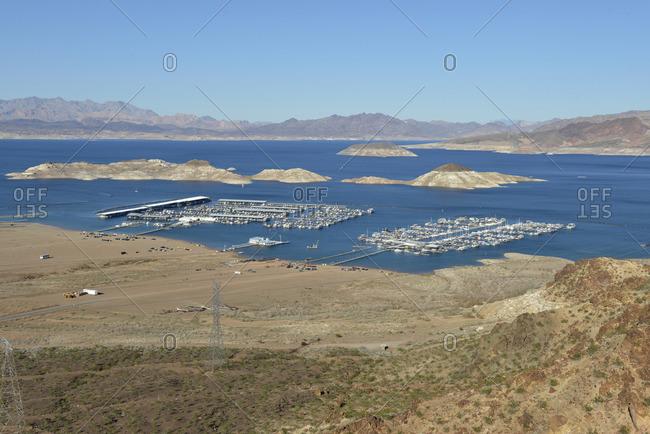 Lake Mead, Nevada, USA - February 9, 2015: Lake Mead Marina and Las Vegas Boat Harbor