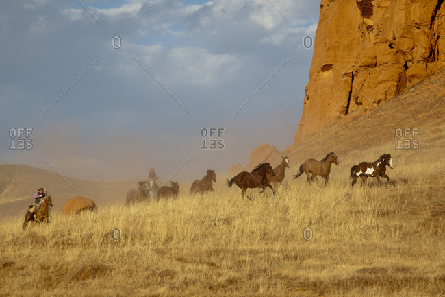 USA, Wyoming, Shell, The Hideout Ranch, Cowboys Driving the Horses in Dusk