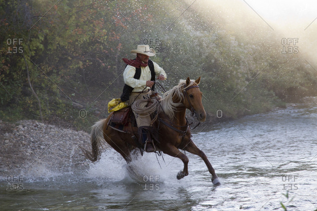 USA, Wyoming, Shell, The Hideout Ranch, Cowboy Riding Horse Across the River