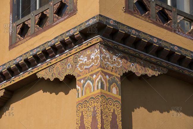Bhutan, Thimphu, capital of Bhutan, Detail of typical Bhutanese style architecture