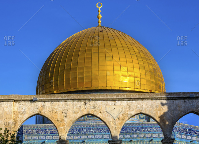 Dome of the Rock, Jerusalem, Israel, Built in 691, One of most sacred spots in Islam where Prophet Mohamed ascended to heaven on an angel in his 'night journey', The Dome covers the rock where Abraham was to sacrifice Isaac
