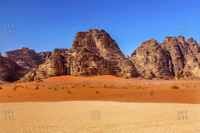Sand Rock Formation, Wadi Rum, Valley of the Moon, Jordan, Inhabited by humans since prehistoric times