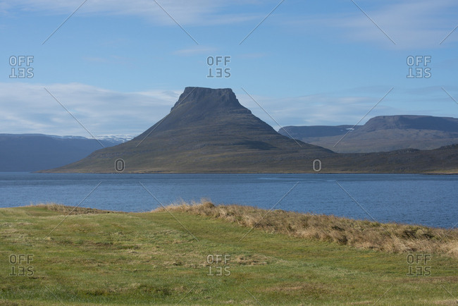 Iceland, West Fjords, Isafjordur, Vigur Island, Privately owned island by the same family for over 100 years, View of volcanic Horse Mountain from Vigur