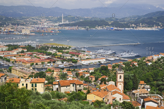 Italy, La Spezia, Overview of city and bay
