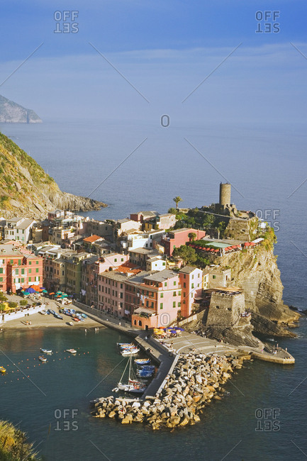 Italy, Vernazza, Overview of town and ocean