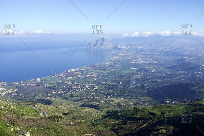 Italy, Sicily, Erice, Looking west. Cofano mountain in the distance