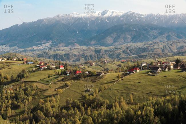 Europe, Romania, Magura, Fall colors, Territorial views near road to cave, Hotel Aquila, Moeciu de Jos and Pestera mountain village