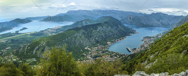 Montenegro, Kotor, Overview of city and landscape